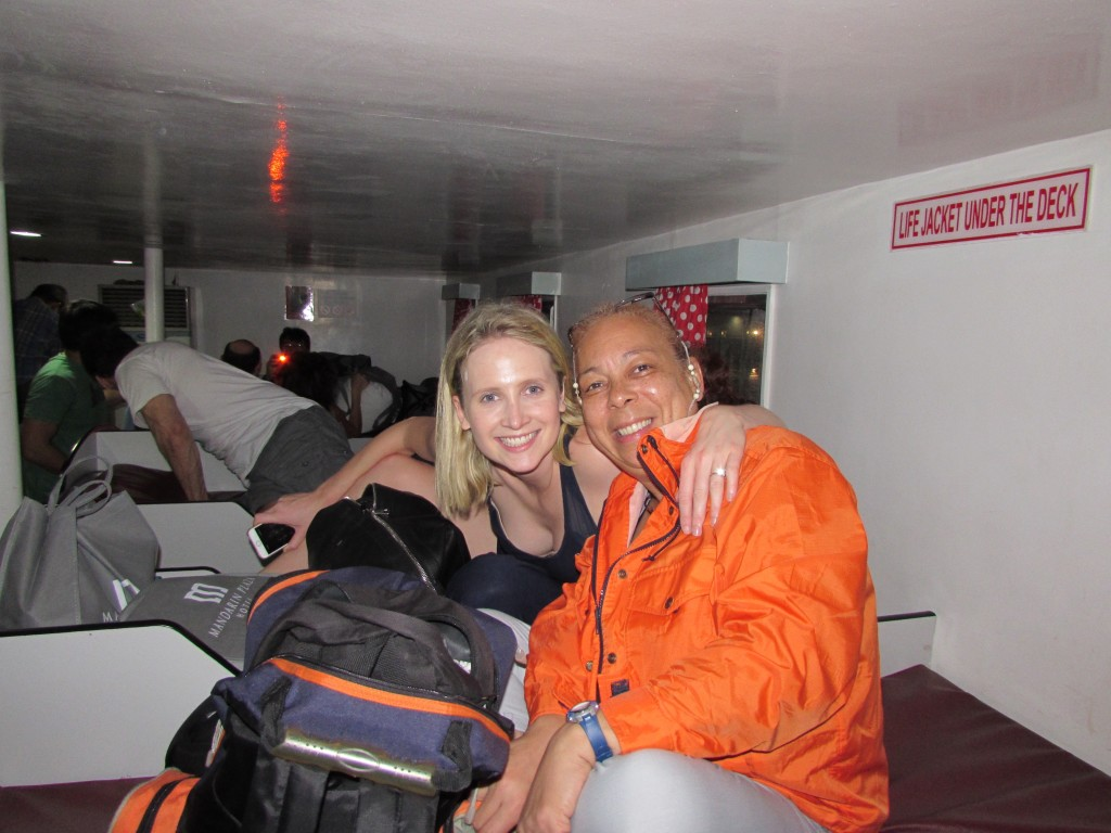 Lucy and Liz on ferry to Hilongos