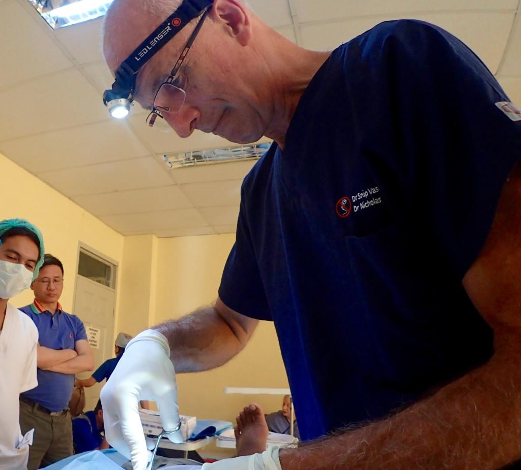 Nick Demediuk doing vasectomy in Danao