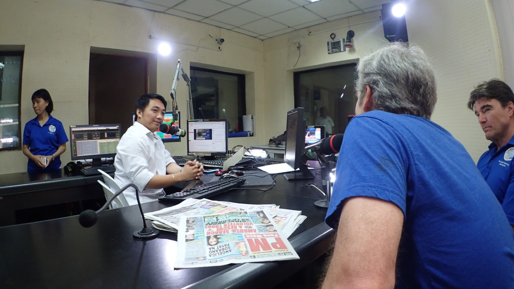 John Curington at the mic at TV station in Cebu